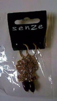 Senze gold tone flower drop earrings (Code 2708)